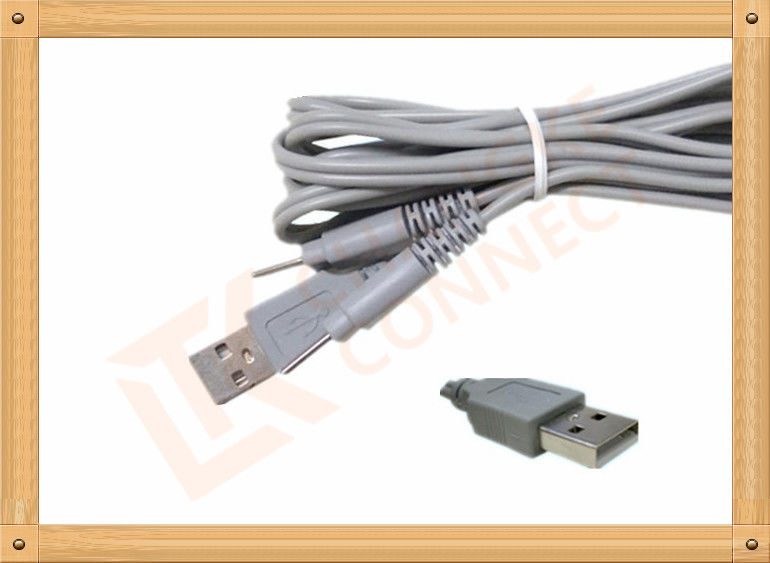 USB To 2.0 2 Pin Y Type Medial Tens Unit Leads PVC Insulation